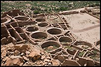 Rooms, kivas, and plaza from above  Pueblo Bonito. Chaco Culture National Historic Park, New Mexico, USA