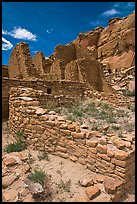 Masonery walls, Kin Kletso. Chaco Culture National Historic Park, New Mexico, USA (color)