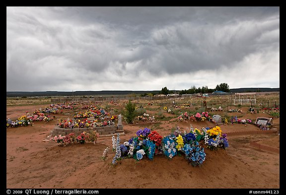 Cemetery, Thoreau. New Mexico, USA (color)