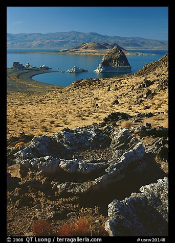 Tufa rock and pyramid. Pyramid Lake, Nevada, USA