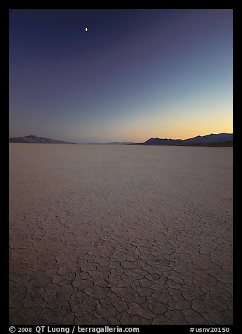 Playa and moon, sunset, Black Rock Desert. Nevada, USA (color)