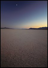 Playa and moon, sunset, Black Rock Desert. Nevada, USA