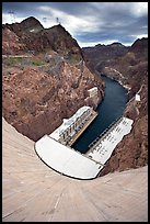 Power plant and Black Canyon seen from top of dam. Hoover Dam, Nevada and Arizona
