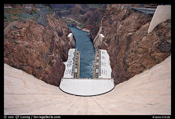 View from above of wall and power plant. Hoover Dam, Nevada and Arizona (color)