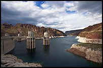 Reservoir and intake towers. Hoover Dam, Nevada and Arizona