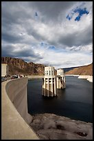 Dam and intake towers. Hoover Dam, Nevada and Arizona (color)