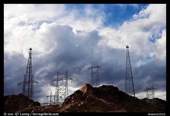 High-voltate transmission lines and clouds. Hoover Dam, Nevada and Arizona (color)