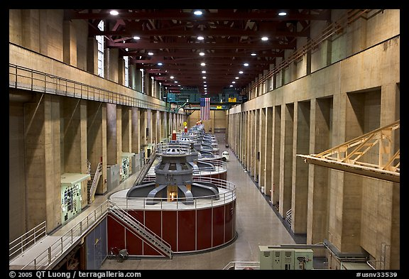 Generator gallery on the Nevada side. Hoover Dam, Nevada and Arizona (color)