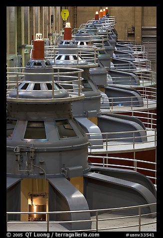 Electrical generators in power plant. Hoover Dam, Nevada and Arizona (color)