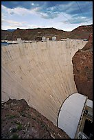 Profile view of arch-gravity dam. Hoover Dam, Nevada and Arizona