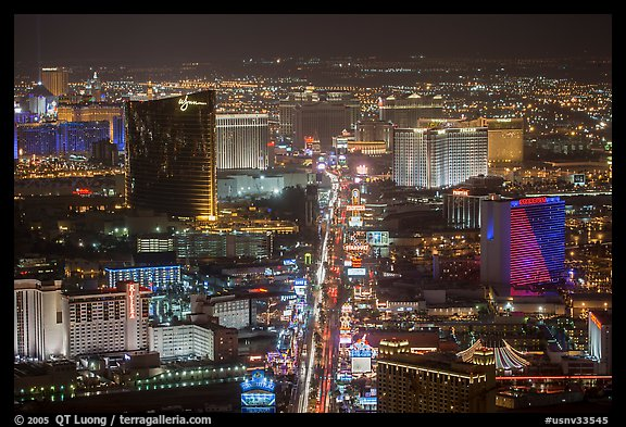 The Strip at night seen from above. Las Vegas, Nevada, USA