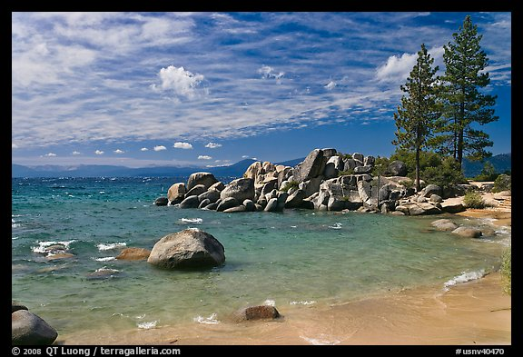 Beach and rocks, Lake Tahoe-Nevada State Park, Nevada. USA (color)