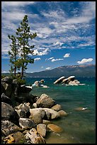 Shore with boulders, Sand Harbor, Lake Tahoe-Nevada State Park, Nevada. USA ( color)
