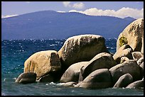 Boulders, lake, and mountains, Lake Tahoe-Nevada State Park, Nevada. USA ( color)