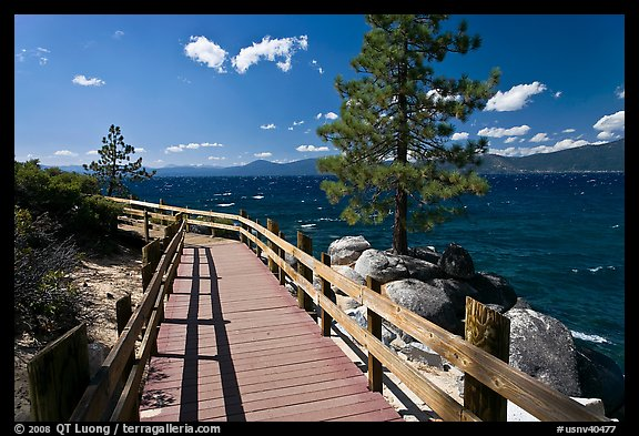 Boardwalk by lake, Sand Harbor, East Shore, Lake Tahoe, Nevada. USA (color)