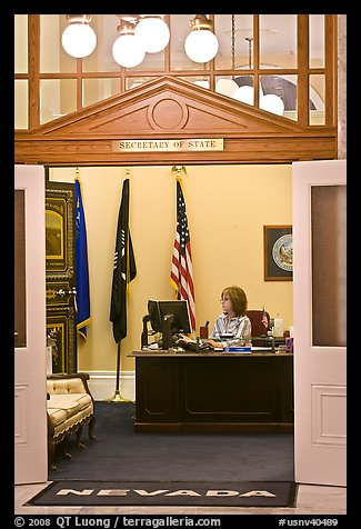 Office of the Secretary of State inside Nevada State Capitol. Carson City, Nevada, USA (color)