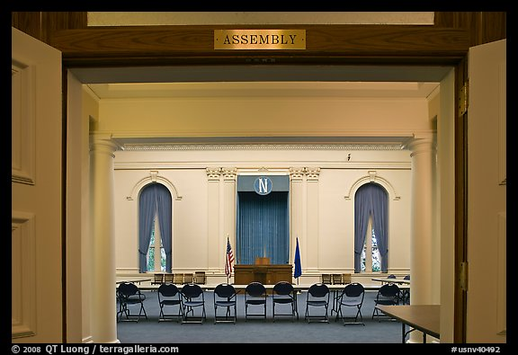 Assembly room inside Nevada State Capitol. Carson City, Nevada, USA (color)