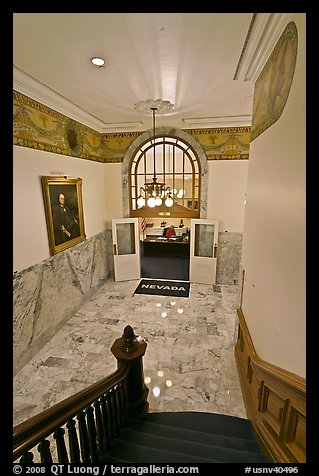 Office of the governor seen from staircase inside Nevada State Capitol. Carson City, Nevada, USA (color)
