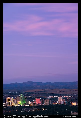 Skyline at sunset. Reno, Nevada, USA