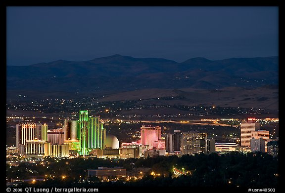 Reno skyline at dusk. Reno, Nevada, USA (color)