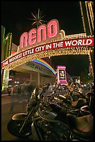 Motorbikes and neon sign at night. Reno, Nevada, USA