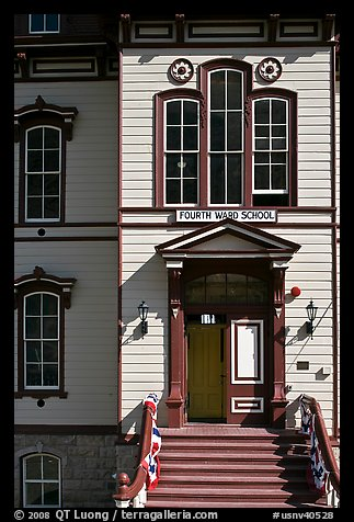 Fourth ward school entrance. Virginia City, Nevada, USA (color)