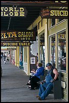 Arcade with suicide table sign. Virginia City, Nevada, USA ( color)