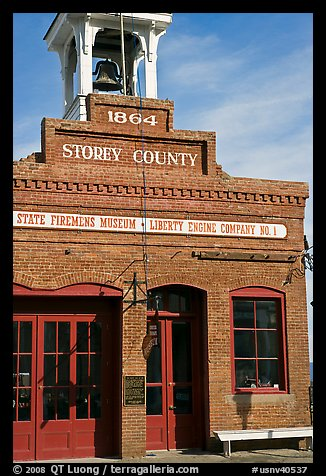 Historic firehouse. Virginia City, Nevada, USA (color)