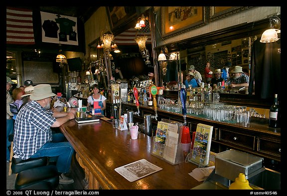 Man sitting at bar. Virginia City, Nevada, USA (color)