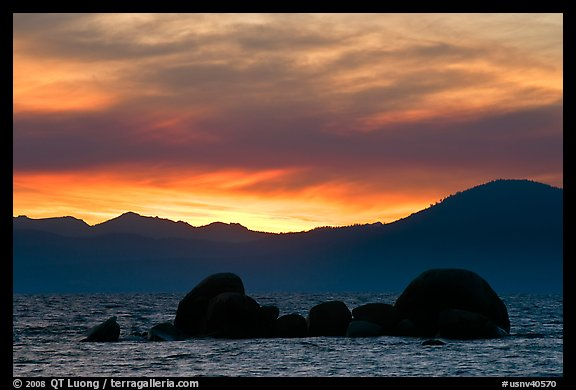 Rocks and mountains at sunset, Lake Tahoe-Nevada State Park, Nevada. USA