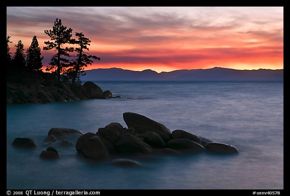 Rocks and trees, sunset, Sand Harbor, East Shore, Lake Tahoe, Nevada. USA (color)