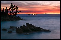 Rocks and trees, sunset, Sand Harbor, East Shore, Lake Tahoe, Nevada. USA ( color)