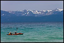 Kayak, turquoise waters and snowy mountains, East Shore, Lake Tahoe, Nevada. USA ( color)