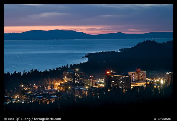 Stateline casinos and Lake Tahoe at dusk, Nevada. USA (color)