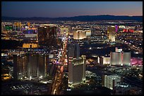 Las Vegas Strip lights seen from above at sunset. Las Vegas, Nevada, USA