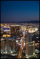 Las Vegas Boulevard and casinos seen from above at sunset. Las Vegas, Nevada, USA