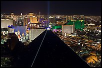 Luxor pyramid and Las Vegas skyline at night. Las Vegas, Nevada, USA