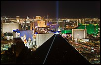 Pyramid, strip and skyline at night. Las Vegas, Nevada, USA (color)