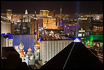 Las Vegas strip and Casinos at night. Las Vegas, Nevada, USA (color)