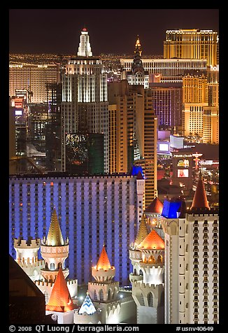 Las Vegas hotels seen from above at night. Las Vegas, Nevada, USA (color)