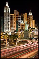 Traffic light trails and New York New York casino at night. Las Vegas, Nevada, USA