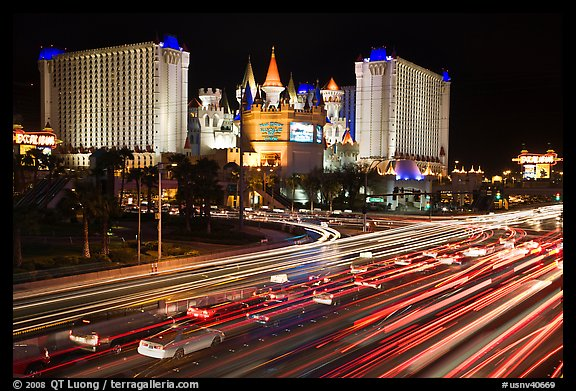 Traffic light trails and Excalibur casino at night. Las Vegas, Nevada, USA (color)