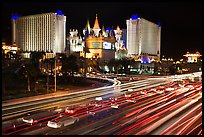 Traffic light trails and Excalibur casino at night. Las Vegas, Nevada, USA