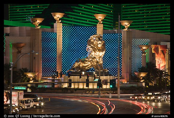 MGM lion and two women images. Las Vegas, Nevada, USA (color)