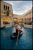 Gondola in Grand Canal inside Venetian hotel. Las Vegas, Nevada, USA (color)