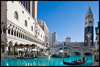 Gondola rides in front of the Venetian hotel. Las Vegas, Nevada, USA