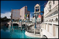 Venetian and Treasure Island hotels. Las Vegas, Nevada, USA (color)