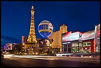 Las Vegas Boulevard and Eiffel Tower replica at dusk. Las Vegas, Nevada, USA (color)