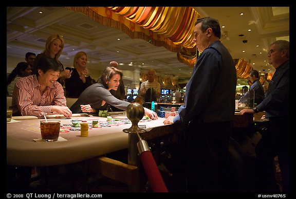 Casino table game. Las Vegas, Nevada, USA (color)