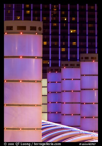 Columns and Baillys hotel by night. Las Vegas, Nevada, USA (color)